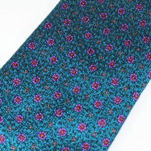 Ermenegildo Zegna Tie Teal w Purple Floral Foulard